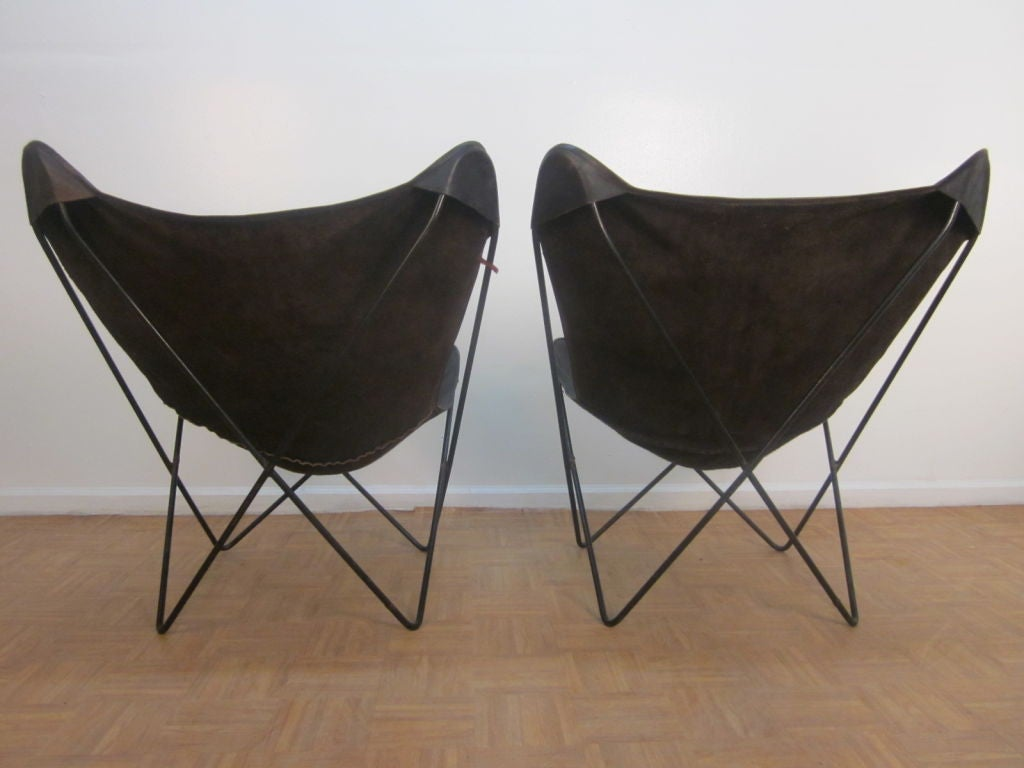 pair vintage knoll hardoy butterfly leather lounge chairs at 1stdibs. Black Bedroom Furniture Sets. Home Design Ideas