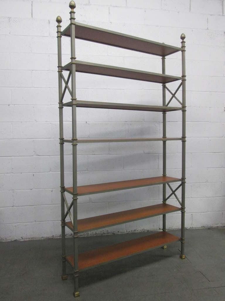 tall maison jansen etagere w leather shelves at 1stdibs. Black Bedroom Furniture Sets. Home Design Ideas