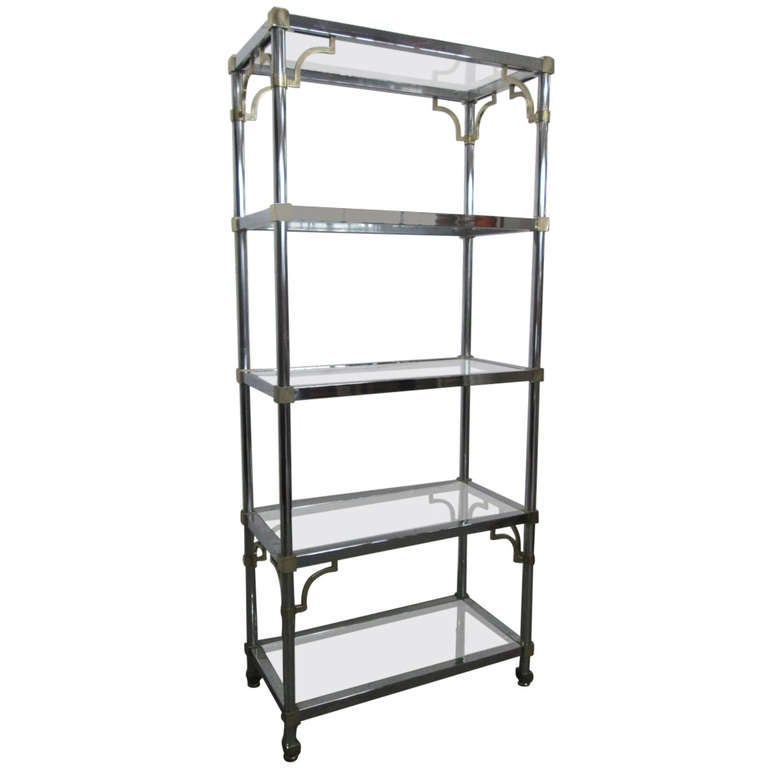 maison jansen style brass and chrome etagere for sale at. Black Bedroom Furniture Sets. Home Design Ideas