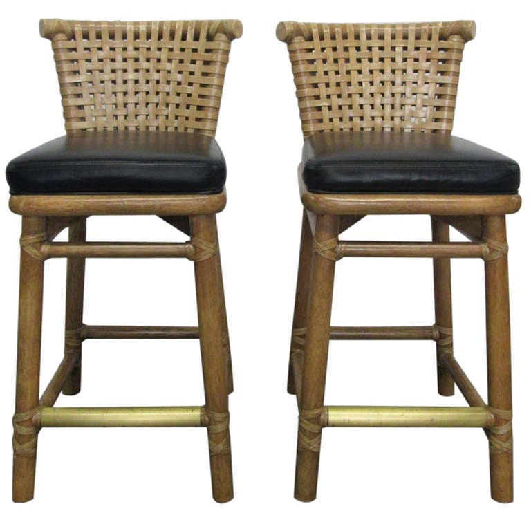 Pair Of Laced Rawhide Bar Stools By Mcguire At 1stdibs