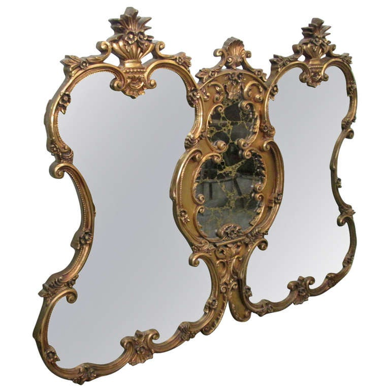 Large Italian Rococo Renaissance Triple Mirror With
