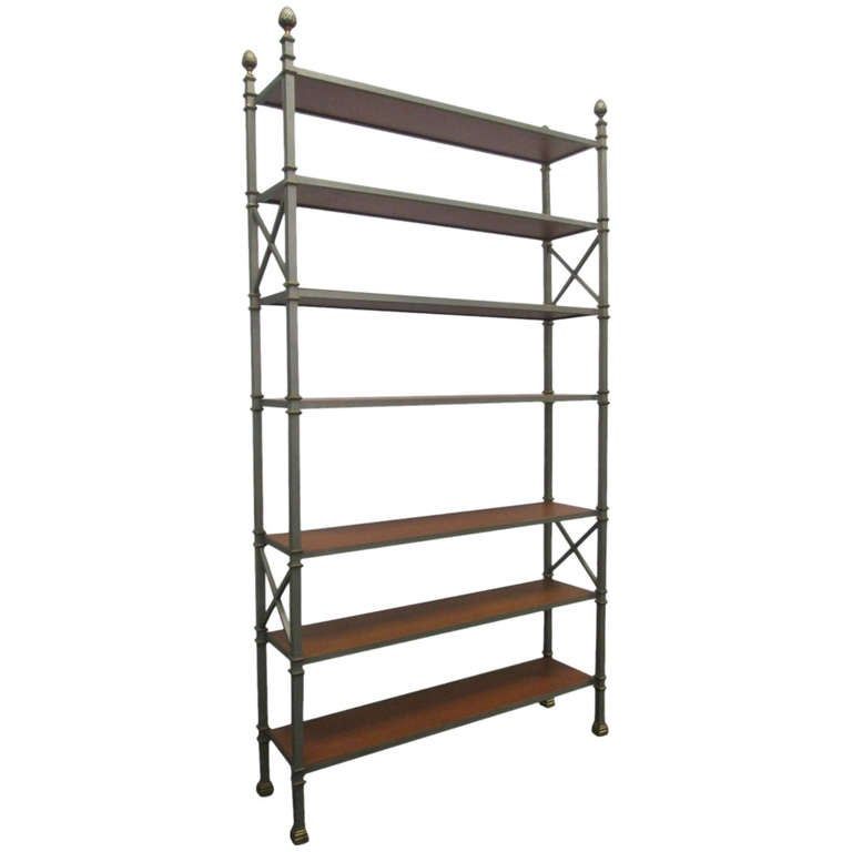 Tall maison jansen etagere w leather shelves at 1stdibs - Etagere faite maison ...