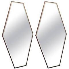 Pair of Walnut and Brass Mirrors by Directional
