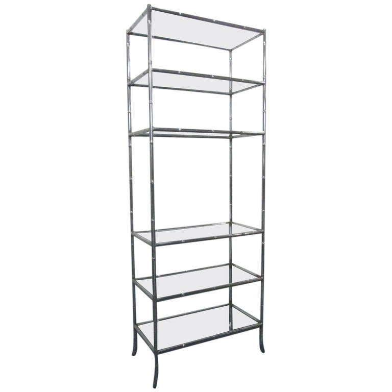 Faux bamboo chrome etagere at 1stdibs - Etagere cases carrees ...