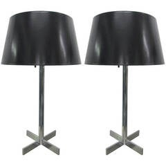 "Pair of ""X"" Base Chrome Lamps"