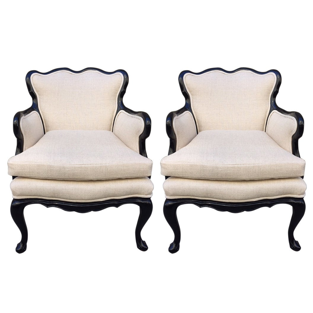 Pair of French Antique Style Lounge Chairs in Linen 1