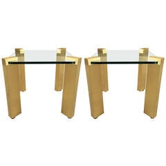 Pair of Modernist Solid Brass Side Tables