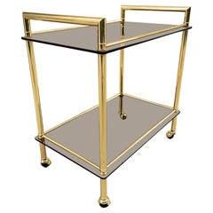 Italian Brass with Smoked Glass Bar Cart
