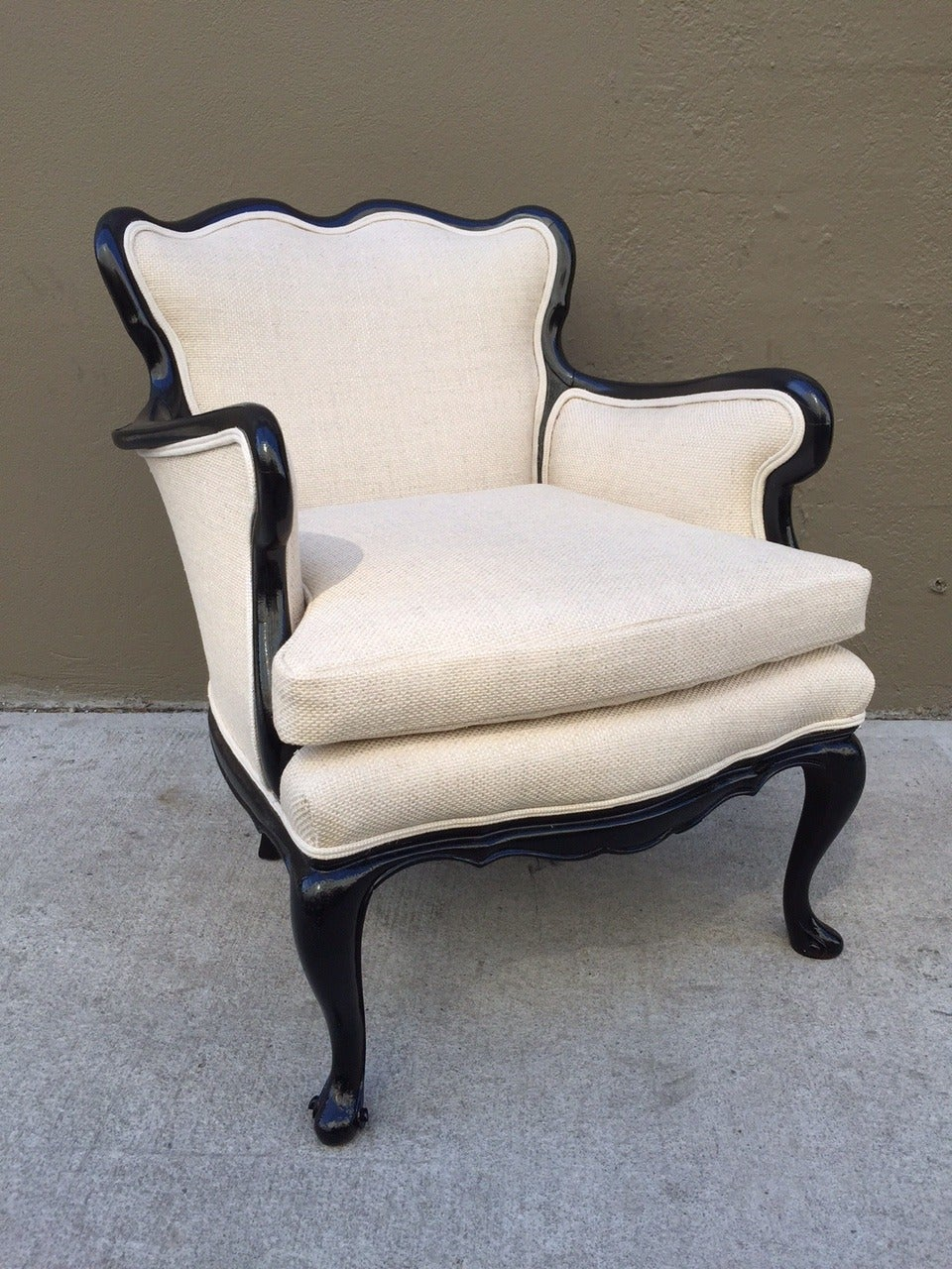 Pair of French Antique Style Lounge Chairs in Linen 3