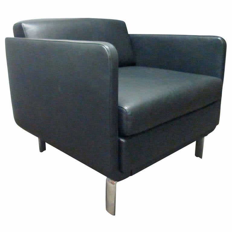 Mid century modern leather and chrome lounge chair for for Mid century modern leather chairs