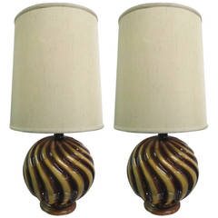 Pair of Round Ceramic Swirl Lamps