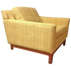 Jens Risom Lounge Chair with Solid Walnut Base