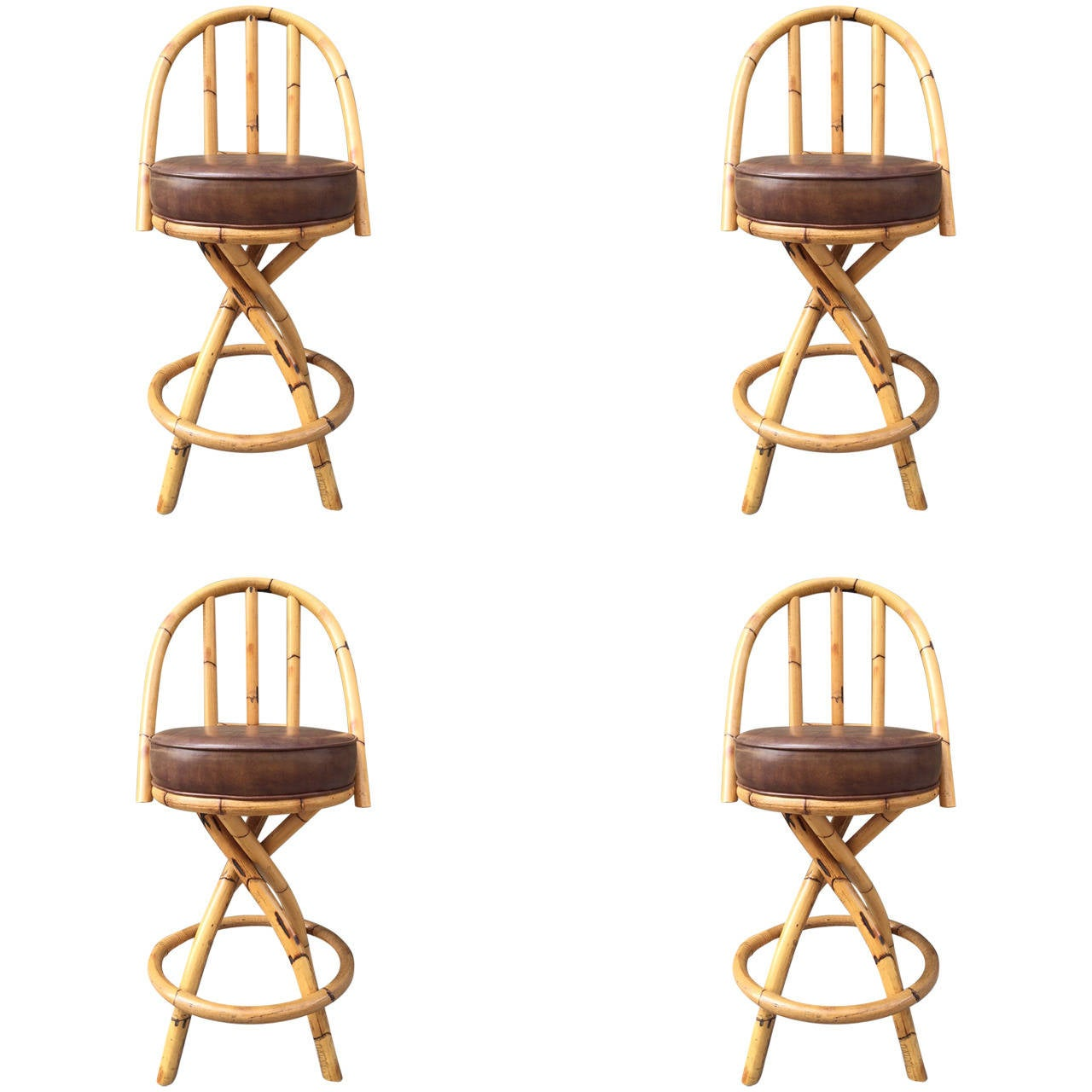 Set Of Four Bamboo Or Rattan Swivel Bar Stools Style Paul