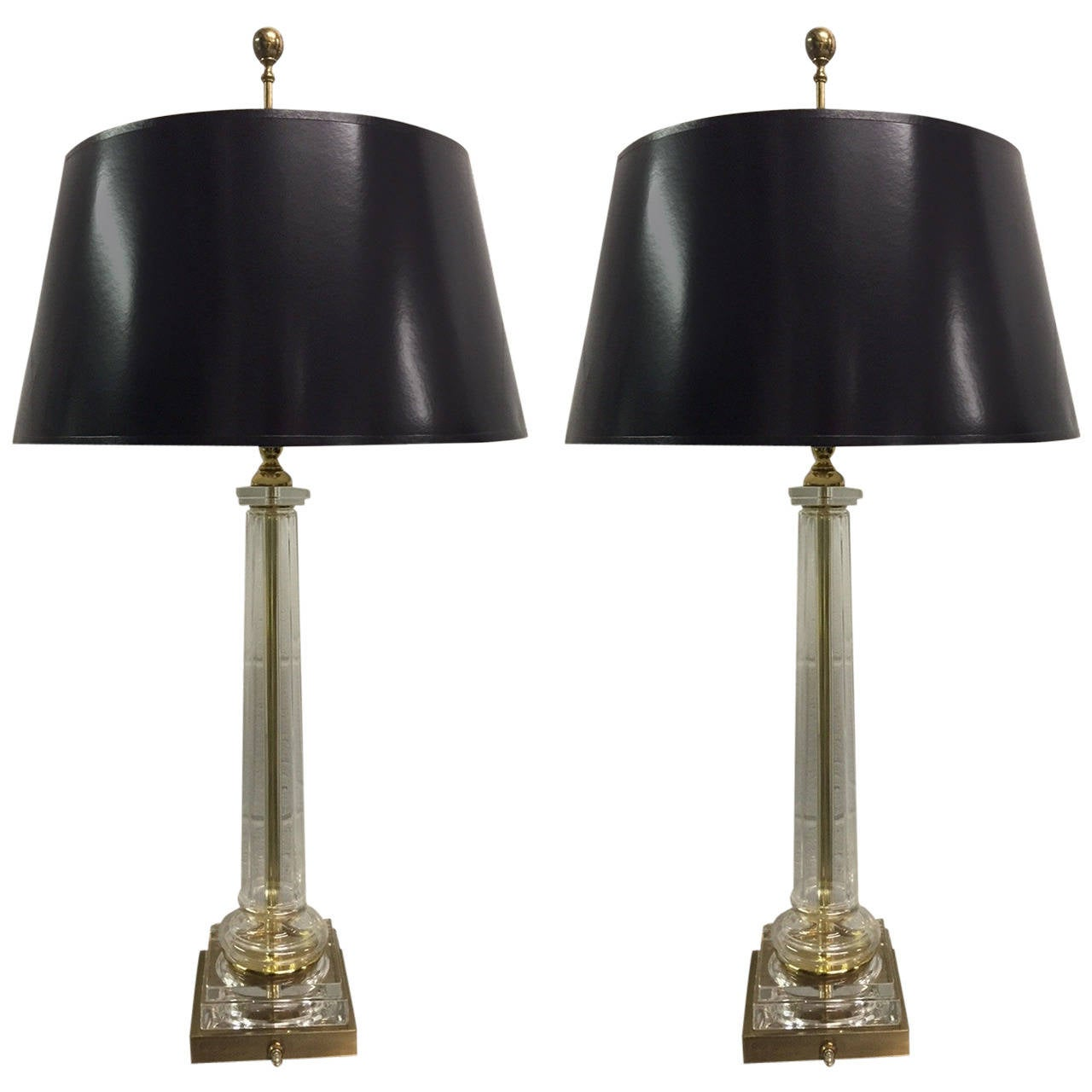 Pair of Neoclassical Style Glass and Brass Lamps by Chapman