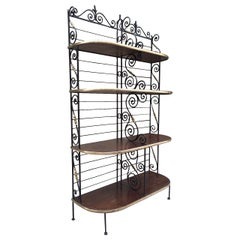 Large Antique French Iron and Brass Bakers Rack