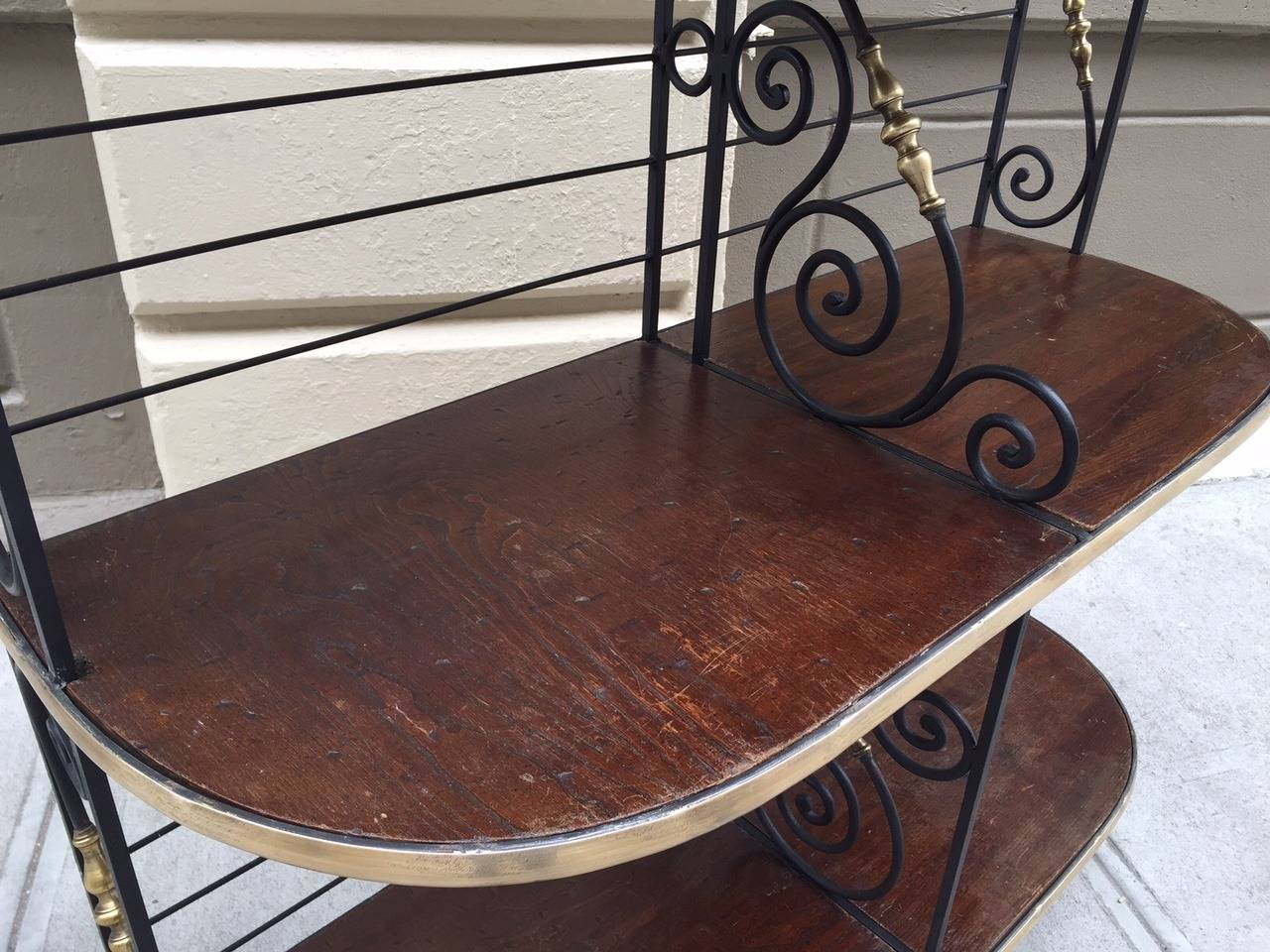 Wrought Iron Large Antique French Iron and Brass Bakers Rack For Sale