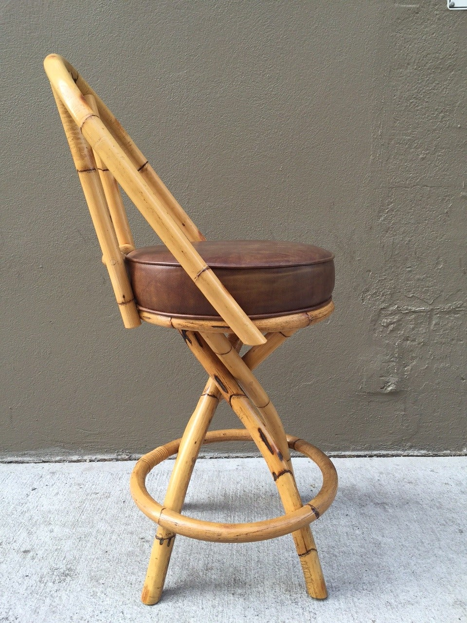 Set Of Four Bamboo Or Rattan Swivel Bar Stools Seats Are Naugahyde Can Be