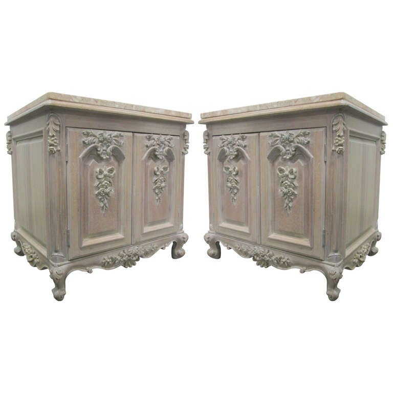 Pair French Carved Cerused Marble Top End Tables Cabinets