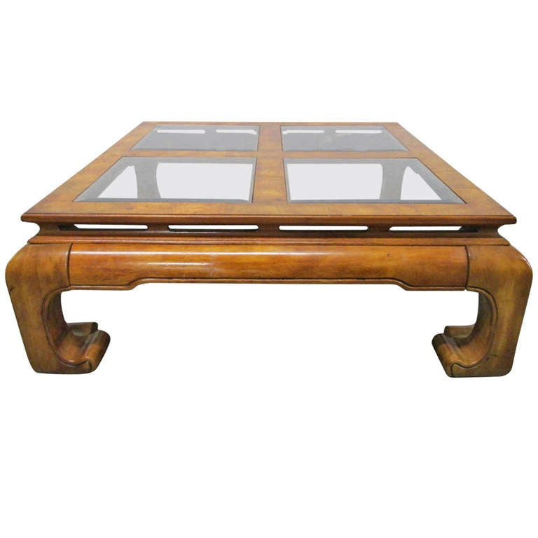 Asian Style Burl Coffee Table In The Mont Style At 1stdibs