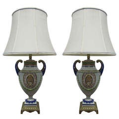 Pair of Hand-Painted Italian Style Porcelain Lamps