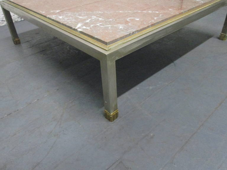 Mid 20th Century French Low Marble Top Coffee Table For