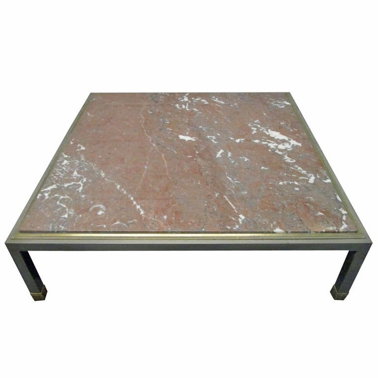 Marble Coffee Table Heavy: French Low Marble Top Coffee Table For Sale At 1stdibs