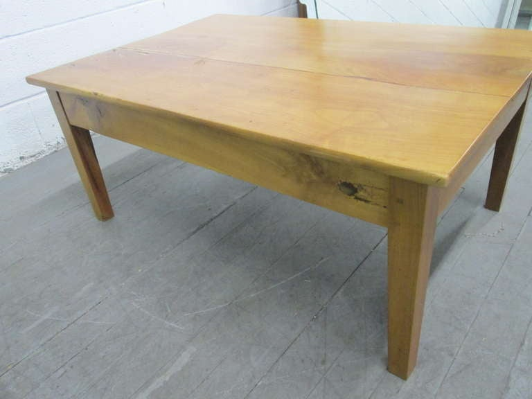 Antique cherry wood plank top coffee table for sale at 1stdibs for Wood plank top coffee table