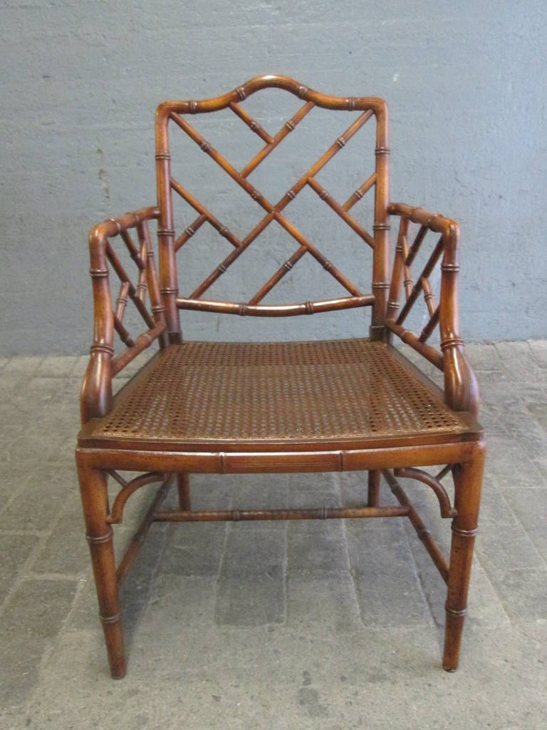 Lovely Pair of Chinese Faux Bamboo Chippendale Style Armchairs For Sale  ID87