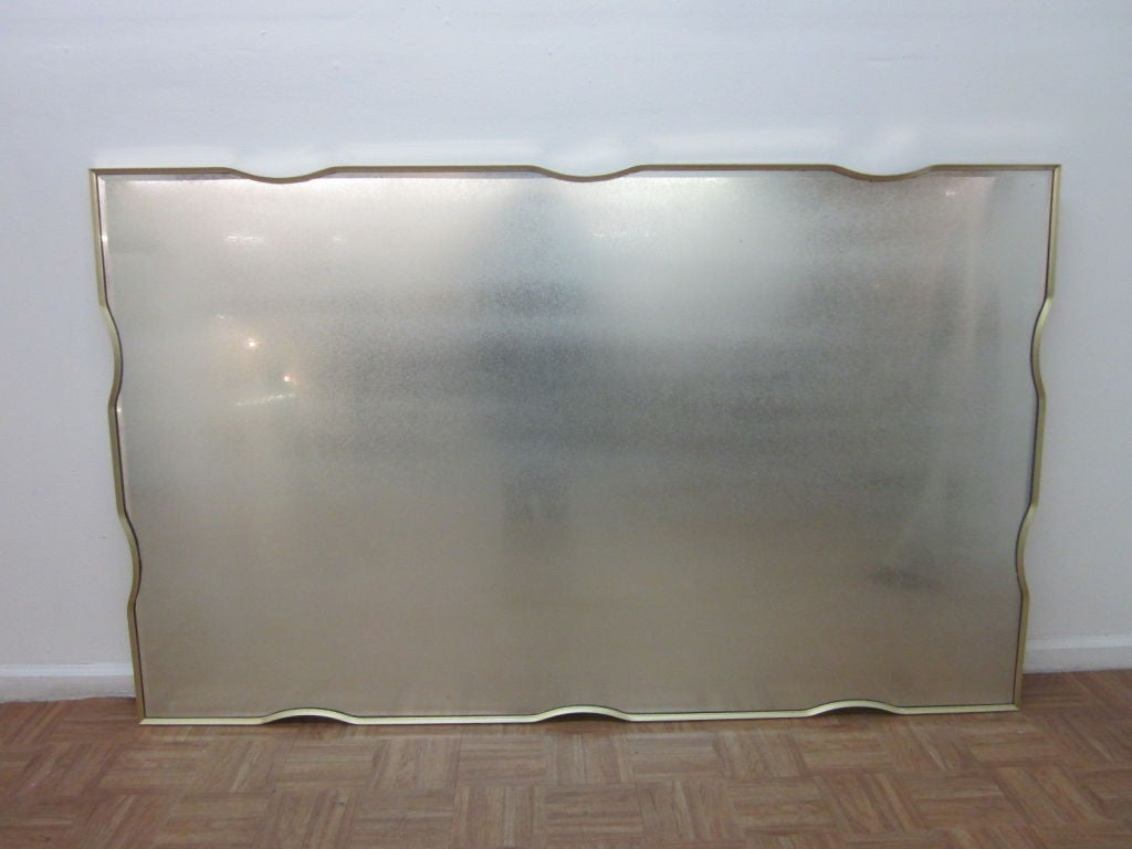 Large brass framed beveled wall mirror at 1stdibs Large mirror on wall