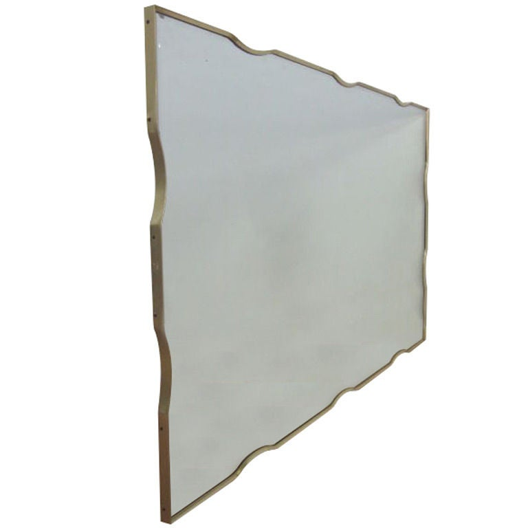Large brass framed beveled wall mirror at 1stdibs for Large framed mirrors for walls