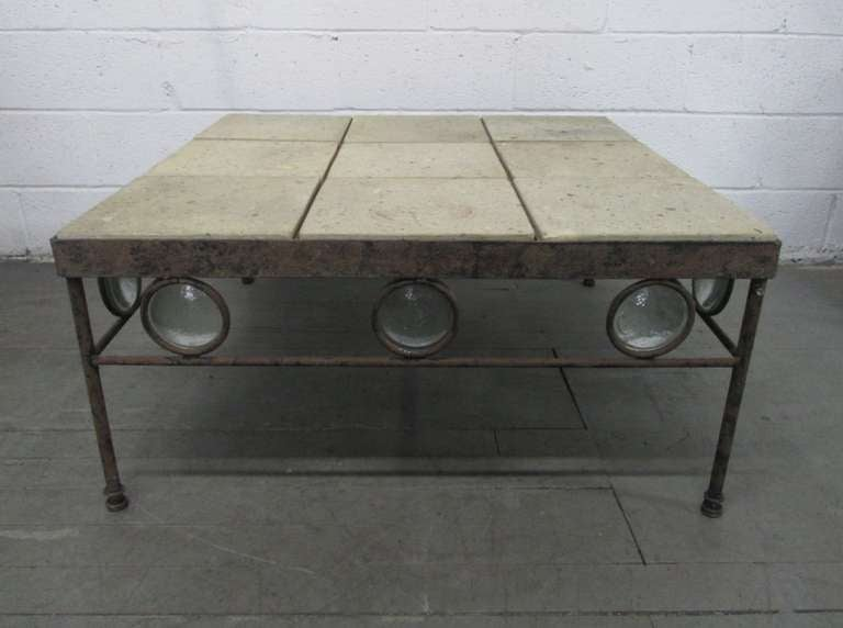 Wrought iron and stone top coffee table at 1stdibs for Stone and iron coffee table