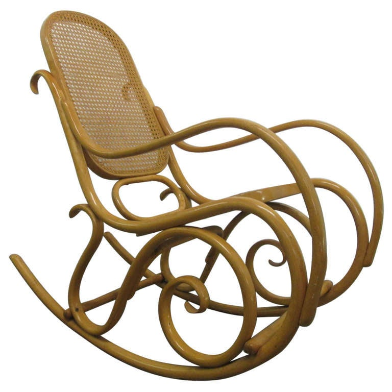 bentwood thonet cane rocking chair at 1stdibs. Black Bedroom Furniture Sets. Home Design Ideas