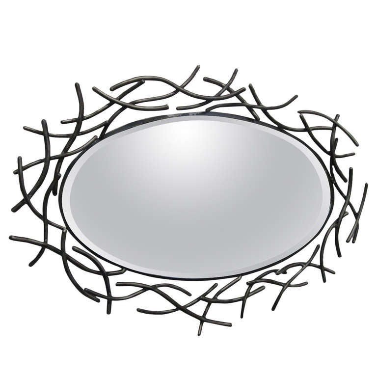 Decorative French Forged Metal Oval Mirror
