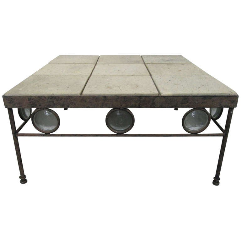 Italian Wrought Iron And Stone Top Coffee Table 1