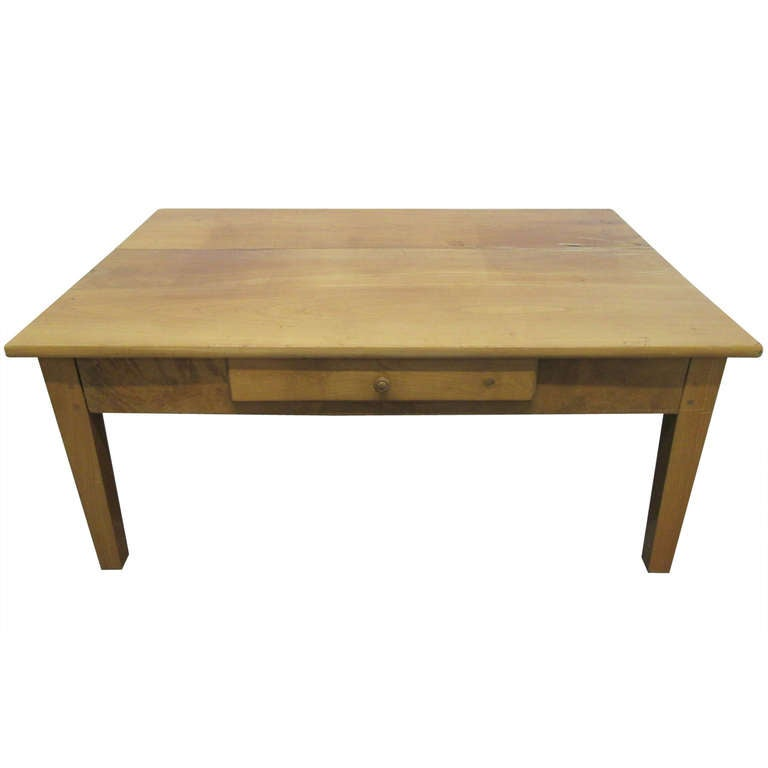 Antique Cherry Wood Plank Top Coffee Table For Sale At 1stdibs