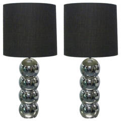 Pair of Stacking Chrome Ball Lamps by George Kovacs