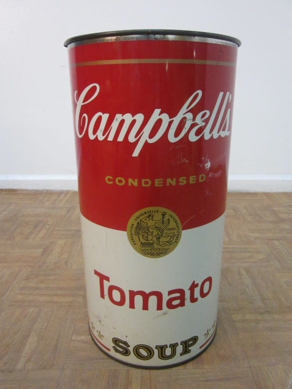 Campbell Tomato Soup Trash Can / Umbrella Stand Andy Warhol Attr image ...