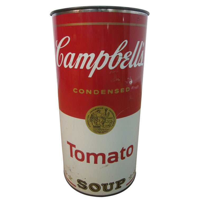Campbell Tomato Soup Trash Can / Umbrella Stand Andy Warhol Attr at ...