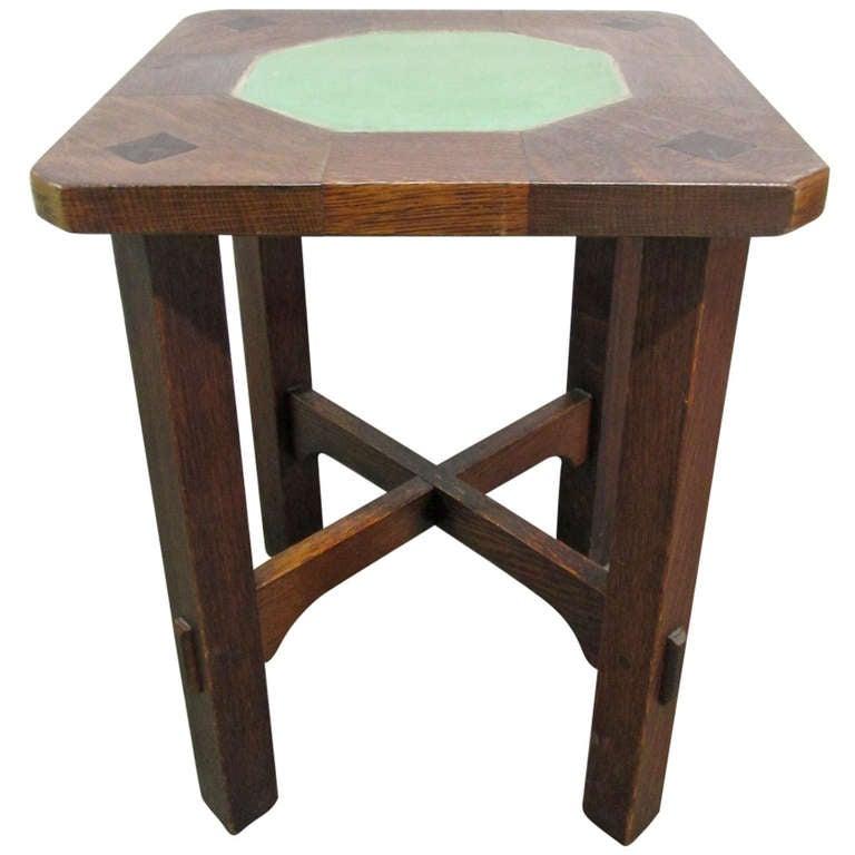 Rare Gustav Stickley Grueby Tile Top Table At 1stdibs