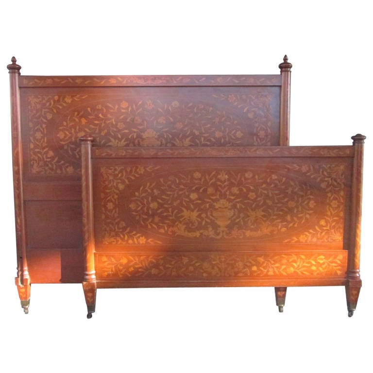 antique full size inlaid headboard and footboard at 1stdibs
