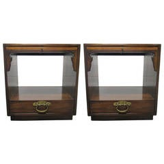 Pair of Walnut Nightstands/End Tables by Bert England