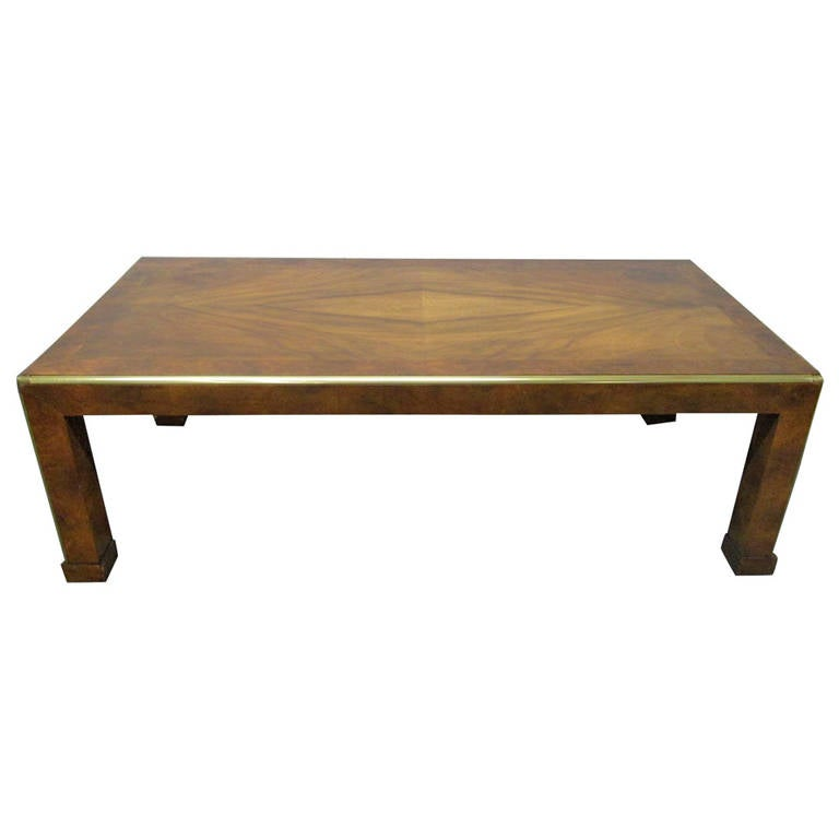 Baker Walnut And Brass Coffee Table For Sale At 1stdibs