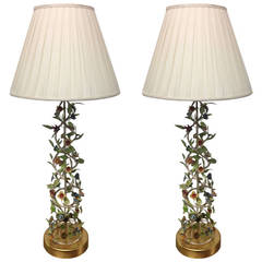 Tall Italian Iron Lamps with Floral Motif