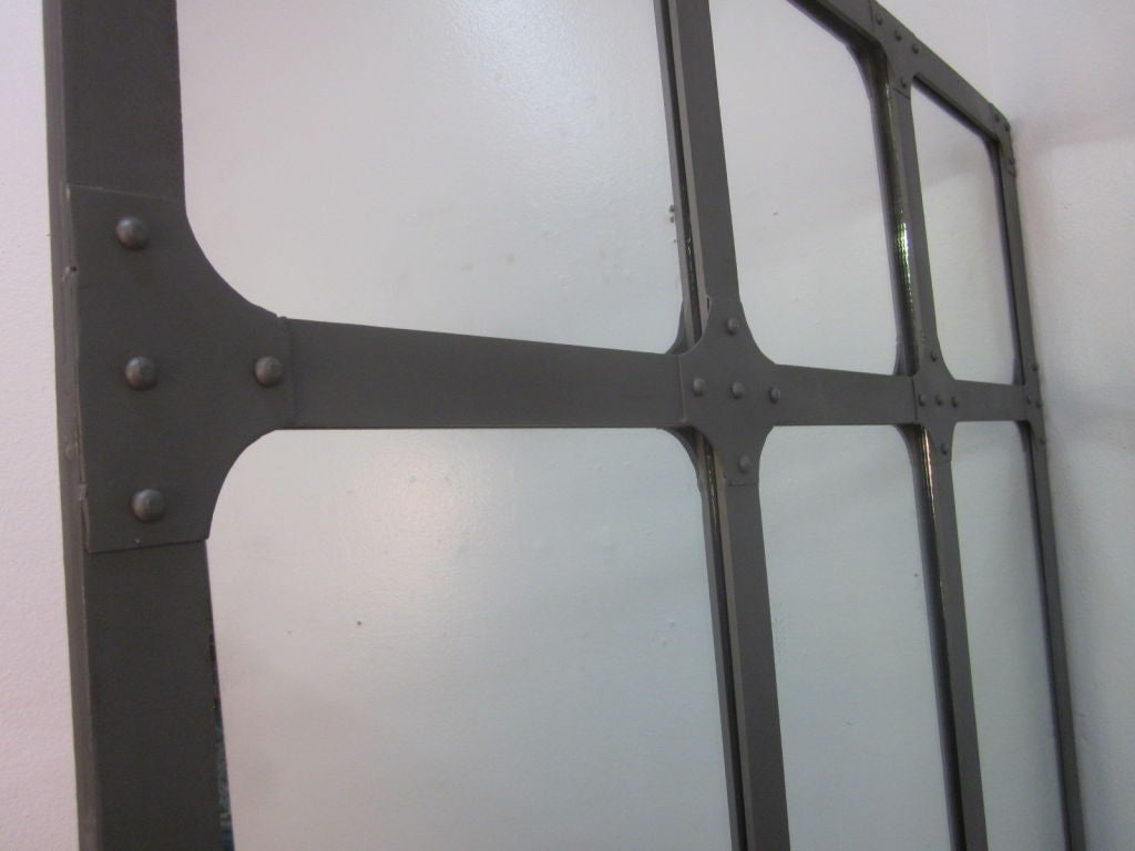 Large industrial heavy wrought iron mirror at 1stdibs for Wrought iron mirror