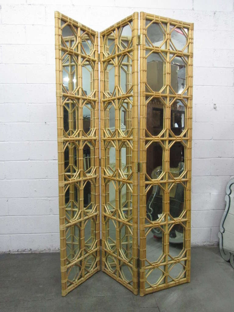 1960s 3 panel rattan and mirror floor screen room divider for Mirror screen