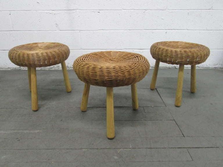 Set Of Three Tony Paul Rattan Stools 2