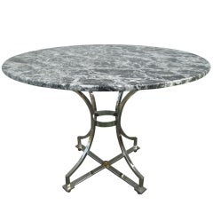 Maison Jansen Polished Steel and Marble-Top Table