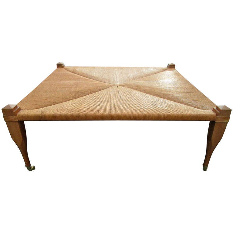 large hand woven rush top bench / coffee table at 1stdibs