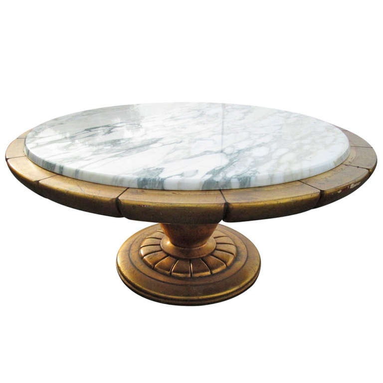 Gold leaf italian marble top coffee table after james mont for Limestone top coffee table
