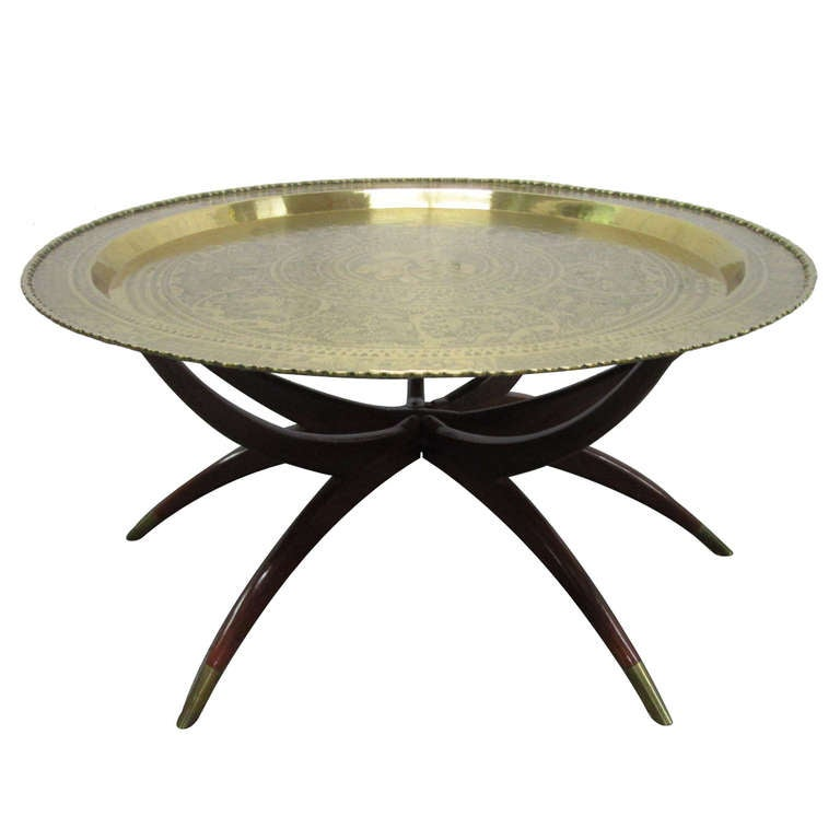 Round Brass Tray Table W/ Spider Legs At 1stdibs